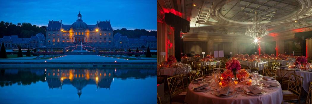 photo du chateau de vaux le vicomte de nuit avec des bougies et photo d'une table avec des fleurs