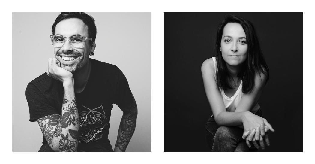portrait homme et portrait femme en noir et blanc