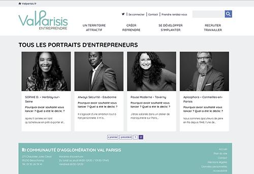 capture d'écran du site internet valparisis entrepreneurs avec des portraits en noir et blanc